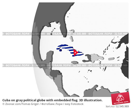 Купить «Cuba on gray political globe with embedded flag. 3D illustration.», фото № 32545989, снято 7 декабря 2019 г. (c) easy Fotostock / Фотобанк Лори