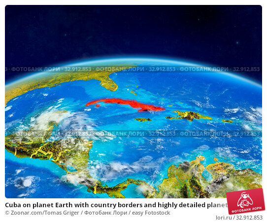 Cuba on planet Earth with country borders and highly detailed planet surface and clouds. 3D illustration. Elements of this image furnished by NASA. Стоковое фото, фотограф Zoonar.com/Tomas Griger / easy Fotostock / Фотобанк Лори