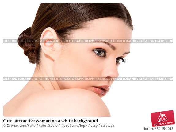 Cute, attractive woman on a white background. Стоковое фото, фотограф Zoonar.com/Yeko Photo Studio / easy Fotostock / Фотобанк Лори