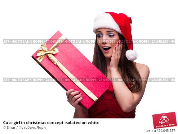 Купить «Cute girl in christmas concept isolated on white», фото № 24045557, снято 3 октября 2016 г. (c) Elnur / Фотобанк Лори
