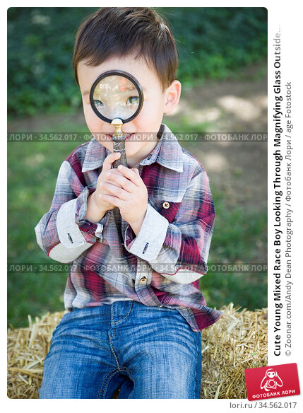 Cute Young Mixed Race Boy Looking Through Magnifying Glass Outside... Стоковое фото, фотограф Zoonar.com/Andy Dean Photography / age Fotostock / Фотобанк Лори