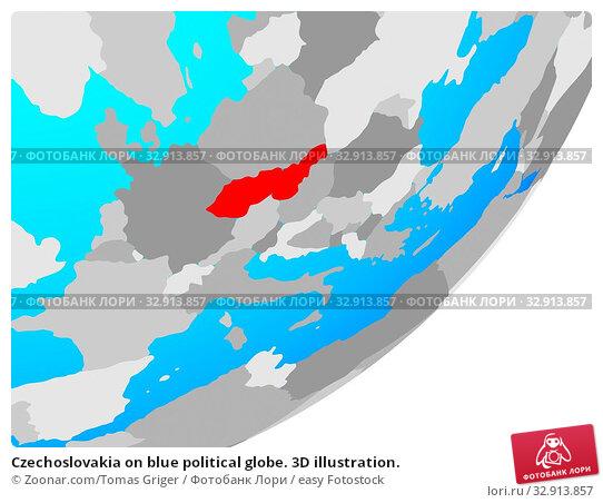 Czechoslovakia on blue political globe. 3D illustration. Стоковое фото, фотограф Zoonar.com/Tomas Griger / easy Fotostock / Фотобанк Лори