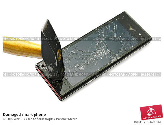Damaged smart phone. Стоковое фото, фотограф Filip Warulik / PantherMedia / Фотобанк Лори