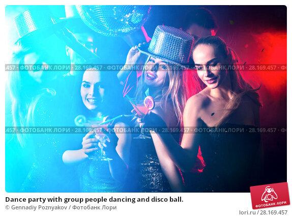 Купить «Dance party with group people dancing and disco ball.», фото № 28169457, снято 29 марта 2017 г. (c) Gennadiy Poznyakov / Фотобанк Лори