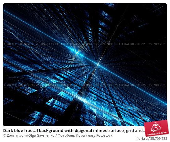 Dark blue fractal background with diagonal inlined surface, grid and... Стоковое фото, фотограф Zoonar.com/Olga Gavrilenko / easy Fotostock / Фотобанк Лори