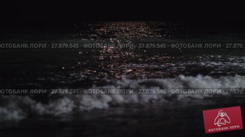 Купить «Dark foamy waves washing the seashore at night», видеоролик № 27879545, снято 20 апреля 2019 г. (c) Данил Руденко / Фотобанк Лори