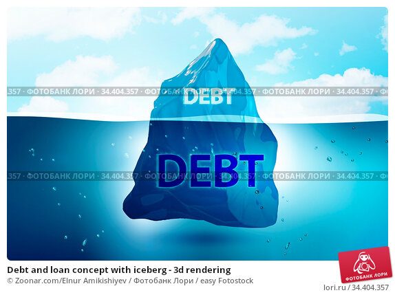 Debt and loan concept with iceberg - 3d rendering. Стоковое фото, фотограф Zoonar.com/Elnur Amikishiyev / easy Fotostock / Фотобанк Лори