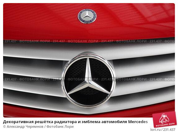 Декоративная решётка радиатора и эмблема автомобиля Mercedes, фото № 231437, снято 26 февраля 2008 г. (c) Александр Черемнов / Фотобанк Лори