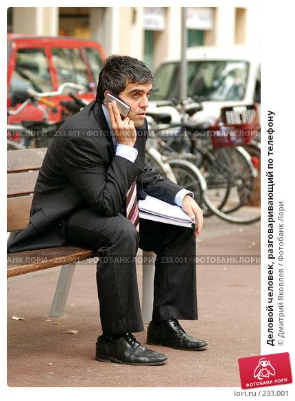 Купить «Деловой человек, разговаривающий по телефону», фото № 233001, снято 4 октября 2007 г. (c) Дмитрий Яковлев / Фотобанк Лори