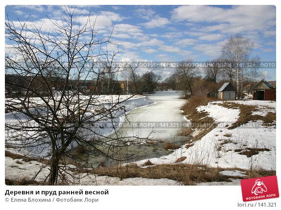 Деревня и пруд ранней весной, фото № 141321, снято 16 марта 2007 г. (c) Елена Блохина / Фотобанк Лори