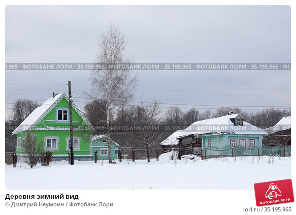 Деревня зимний вид. Редакционное фото, фотограф Дмитрий Неумоин / Фотобанк Лори