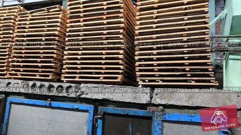 Купить «Деревянные поддоны на складе завода», видеоролик № 28546741, снято 21 ноября 2018 г. (c) Евгений Ткачёв / Фотобанк Лори