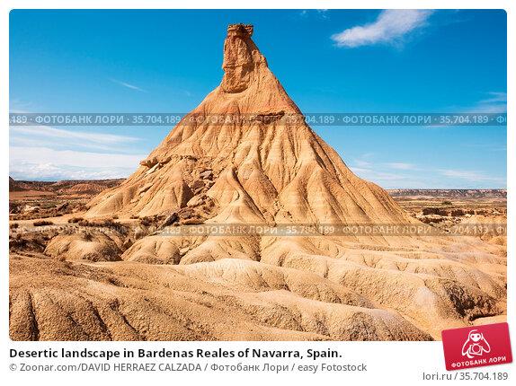 Desertic landscape in Bardenas Reales of Navarra, Spain. Стоковое фото, фотограф Zoonar.com/DAVID HERRAEZ CALZADA / easy Fotostock / Фотобанк Лори
