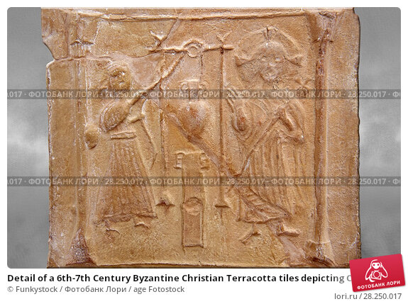 Купить «Detail of a 6th-7th Century Byzantine Christian Terracotta tiles depicting Christ changing Water into wine - Produced in Byzacena - present day Tunisia...», фото № 28250017, снято 1 февраля 2017 г. (c) age Fotostock / Фотобанк Лори