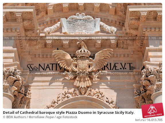 Купить «Detail of Cathedral baroque style Piazza Duomo in Syracuse Sicily Italy.», фото № 16013705, снято 20 апреля 2019 г. (c) age Fotostock / Фотобанк Лори