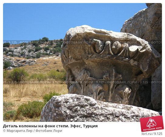 Деталь колонны на фоне степи. Эфес, Турция, фото № 9125, снято 9 июля 2006 г. (c) Маргарита Лир / Фотобанк Лори