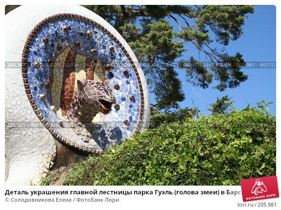 Деталь украшения главной лестницы парка Гуэль (голова змеи) в Барселоне, фото № 205981, снято 19 сентября 2005 г. (c) Солодовникова Елена / Фотобанк Лори