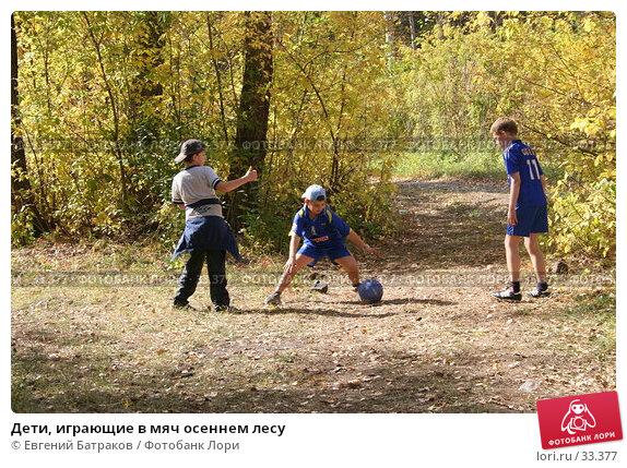 Дети, играющие в мяч осеннем лесу, фото № 33377, снято 23 сентября 2006 г. (c) Евгений Батраков / Фотобанк Лори