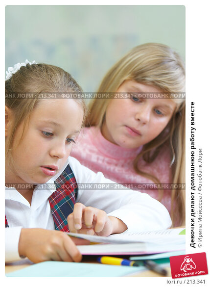 Купить «Девочки делают домашнюю работу вместе», фото № 213341, снято 19 августа 2007 г. (c) Ирина Мойсеева / Фотобанк Лори