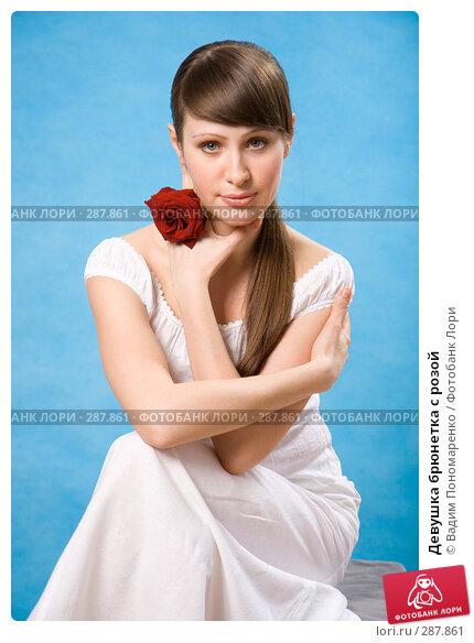 Девушка брюнетка с розой, фото № 287861, снято 23 марта 2008 г. (c) Вадим Пономаренко / Фотобанк Лори