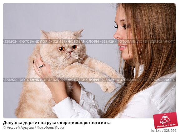 Девушка держит на руках короткошерстного кота, фото № 328929, снято 8 мая 2008 г. (c) Андрей Аркуша / Фотобанк Лори