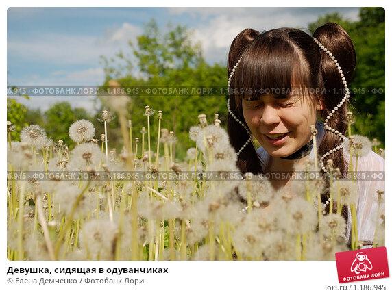 Девушка, сидящая в одуванчиках. Стоковое фото, фотограф Елена Демченко / Фотобанк Лори