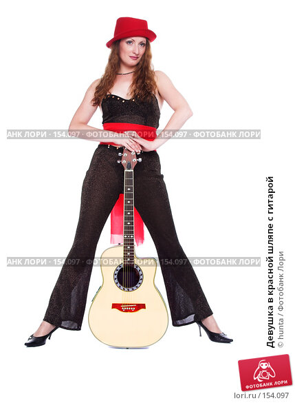 Девушка в красной шляпе с гитарой, фото № 154097, снято 5 августа 2007 г. (c) hunta / Фотобанк Лори