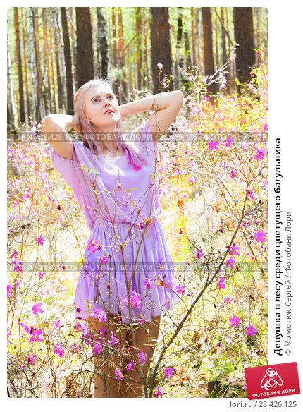 Купить «Девушка в лесу среди цветущего багульника», фото № 28426125, снято 17 мая 2018 г. (c) Момотюк Сергей / Фотобанк Лори