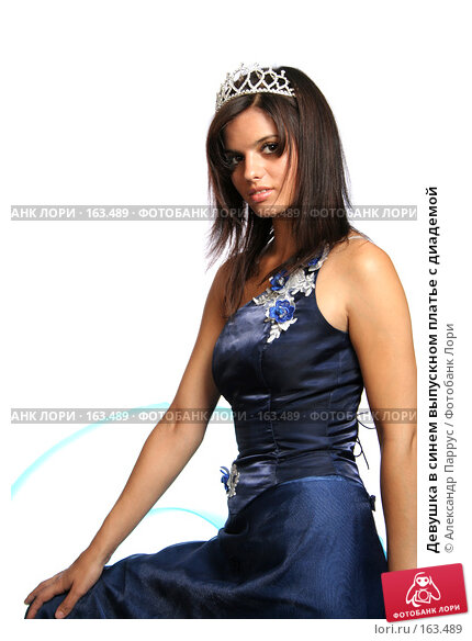Девушка в синем выпускном платье с диадемой, фото № 163489, снято 26 июля 2007 г. (c) Александр Паррус / Фотобанк Лори