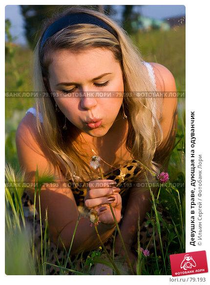 Девушка в траве, дующая на одуванчик, фото № 79193, снято 2 июля 2007 г. (c) Ильин Сергей / Фотобанк Лори