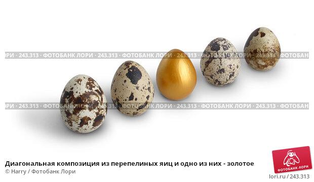 Купить «Диагональная композиция из перепелиных яиц и одно из них - золотое», фото № 243313, снято 3 октября 2007 г. (c) Harry / Фотобанк Лори