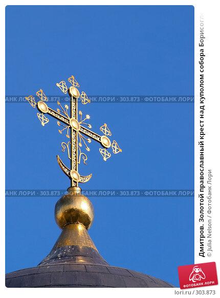 Дмитров. Золотой православный крест над куполом собора Борисоглебского монастыря, фото № 303873, снято 30 марта 2008 г. (c) Julia Nelson / Фотобанк Лори