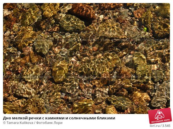 Дно мелкой речки с камнями и солнечными бликами, фото № 3545, снято 3 июня 2006 г. (c) Tamara Kulikova / Фотобанк Лори