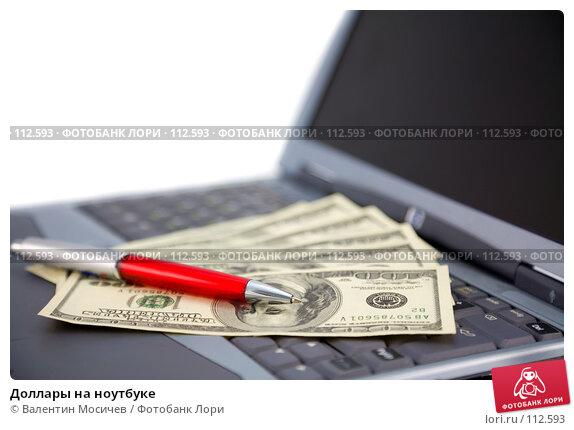 Доллары на ноутбуке, фото № 112593, снято 10 февраля 2007 г. (c) Валентин Мосичев / Фотобанк Лори
