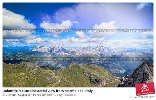 Dolomite Mountains aerial view from Marmolada, Italy. Стоковое фото, фотограф Giovanni Gagliardi / easy Fotostock / Фотобанк Лори