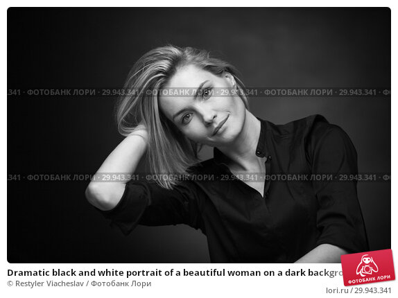 Купить «Dramatic black and white portrait of a beautiful woman on a dark background», фото № 29943341, снято 1 февраля 2019 г. (c) Restyler Viacheslav / Фотобанк Лори