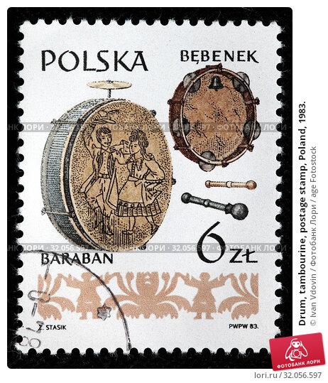 Drum, tambourine, postage stamp, Poland, 1983. (2010 год). Редакционное фото, фотограф Ivan Vdovin / age Fotostock / Фотобанк Лори