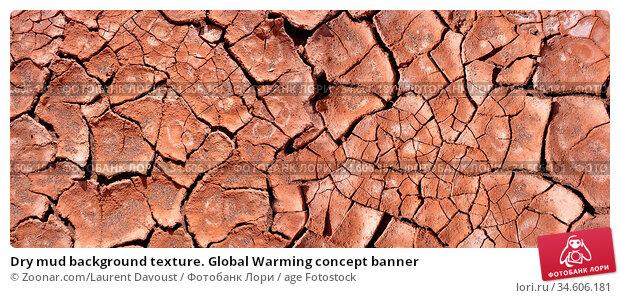 Dry mud background texture. Global Warming concept banner. Стоковое фото, фотограф Zoonar.com/Laurent Davoust / age Fotostock / Фотобанк Лори