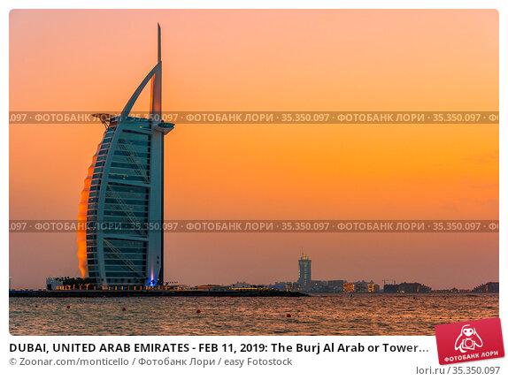 DUBAI, UNITED ARAB EMIRATES - FEB 11, 2019: The Burj Al Arab or Tower... Стоковое фото, фотограф Zoonar.com/monticello / easy Fotostock / Фотобанк Лори