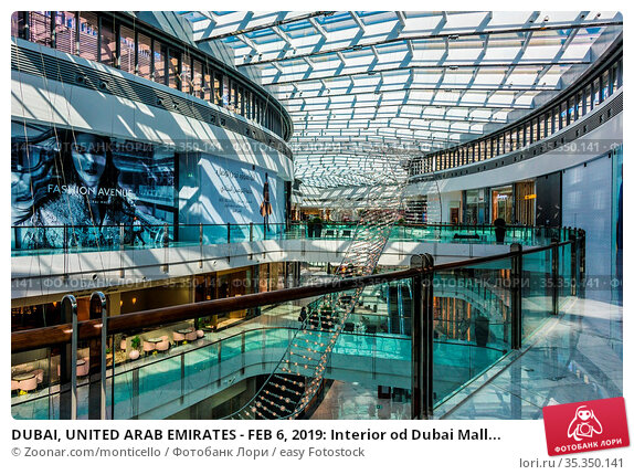 DUBAI, UNITED ARAB EMIRATES - FEB 6, 2019: Interior od Dubai Mall... Стоковое фото, фотограф Zoonar.com/monticello / easy Fotostock / Фотобанк Лори