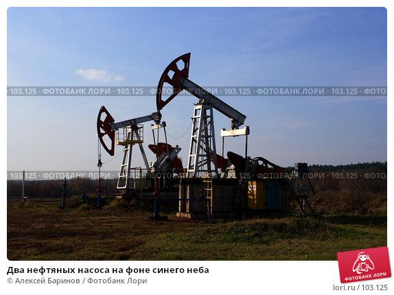 Два нефтяных насоса на фоне синего неба, фото № 103125, снято 23 марта 2017 г. (c) Алексей Баринов / Фотобанк Лори