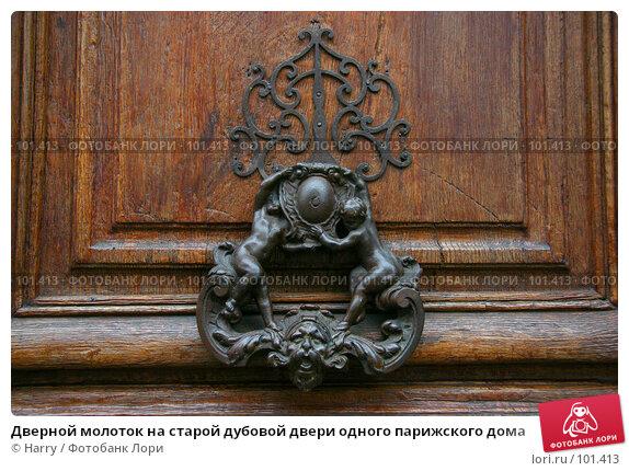 Купить «Дверной молоток на старой дубовой двери одного парижского дома», фото № 101413, снято 22 февраля 2006 г. (c) Harry / Фотобанк Лори
