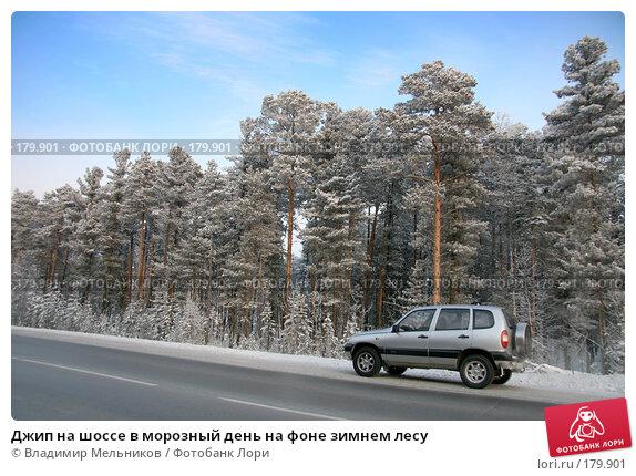 Джип на шоссе в морозный день на фоне зимнем лесу, фото № 179901, снято 16 января 2008 г. (c) Владимир Мельников / Фотобанк Лори