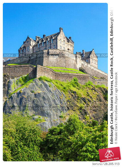 Edinburgh Castle, historic fortress, Castle Rock, Castlehill, Edinburgh Old Town, UNESCO World Heritage Site, Midlothian, Scotland, United Kingdom, Europe. Стоковое фото, фотограф Neale Clark / age Fotostock / Фотобанк Лори