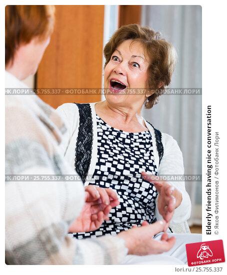 Купить «Elderly friends having nice conversation», фото № 25755337, снято 19 марта 2019 г. (c) Яков Филимонов / Фотобанк Лори