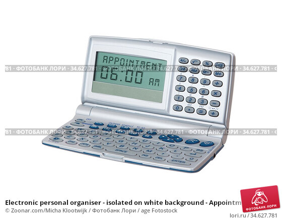 Electronic personal organiser - isolated on white background - Appointment... Стоковое фото, фотограф Zoonar.com/Micha Klootwijk / age Fotostock / Фотобанк Лори