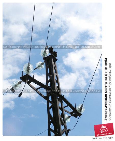 Электрическая мачта на фоне неба, фото № 318317, снято 27 мая 2006 г. (c) Анатолий Заводсков / Фотобанк Лори
