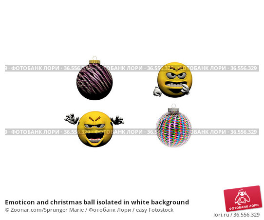 Emoticon and christmas ball isolated in white background. Стоковое фото, фотограф Zoonar.com/Sprunger Marie / easy Fotostock / Фотобанк Лори