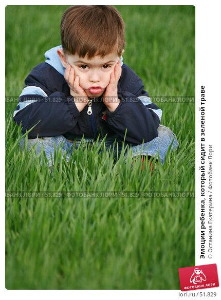Эмоции ребенка, который сидит в зеленой траве, фото № 51829, снято 15 мая 2007 г. (c) Останина Екатерина / Фотобанк Лори