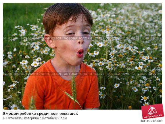 Эмоции ребенка среди поля ромашек, фото № 63609, снято 7 июля 2007 г. (c) Останина Екатерина / Фотобанк Лори